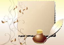 Inkwell, pluma, un papel viejo. Imagen de archivo libre de regalías