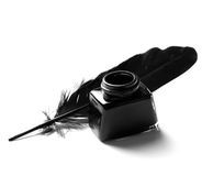 Inkwell and quill Stock Image
