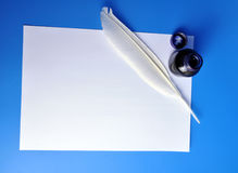 Inkwell and quill Stock Photo