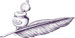 Inkwell and quill pen. Lying next royalty free illustration
