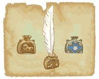 Inkwells antiguos. Siglo XVII. Foto de archivo