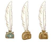 Inkwells antiguos. Siglo XVII. Fotografía de archivo libre de regalías