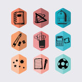 Inky black hand drawn school stationery hexagon icons set Stock Images