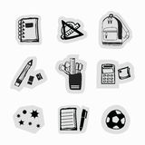 Inky czarnej ręki szkolnych dostaw i materiałów majcherów rysować ikony ustawiać Zdjęcie Stock