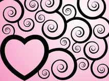 Inky pinky. A valentines background with swirly and curly branches and a heart with a space to place text royalty free illustration