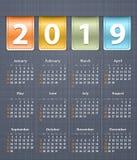 Inlägg 2019 för läder för kalenderlinnebaksida arkivfoton