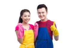 Inländisches Haushaltungsservice-Team Hauptreinigungsasiatsleute lizenzfreies stockbild