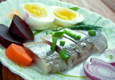 Inlagd sill. Delicacy in Europe, and has become a part of Baltic, Nordic, Dutch, German Stock Photos
