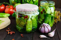 Inlagda gurkor i glass krus Kryddor och grönsaker för förberedelse av knipor Royaltyfri Foto