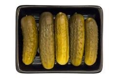 Inlagda gurkor på svart maträtt Royaltyfri Bild
