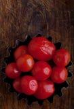 Inlagda tomater på maträtt Arkivbild