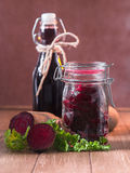 Inlaid beetroot and beetroot juice Stock Photography
