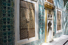 Inlaid doors and mosaic tiles Royalty Free Stock Photo
