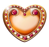 Inlaid heart. Inlaid golden heart with shining diamonds and rubies Royalty Free Stock Images