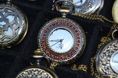 inlaid-red-stone-pocket-watch Stock Photo