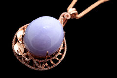 Inlaid violet jade necklace pendant crafts Royalty Free Stock Photo