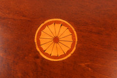 Inlaid wood. Marquetry inlaid wooden box lid Stock Photo