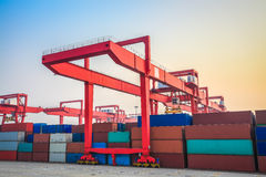 Inland container terminal Royalty Free Stock Images