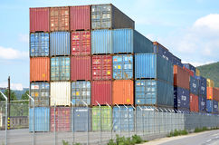 Inland container terminal where cargo containers are transshipped between train and truck Stock Images