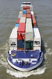 Inland container vessel Stock Photos