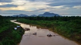 Inland fisheries in Thailand. Pasak river and fisherman life Royalty Free Stock Image