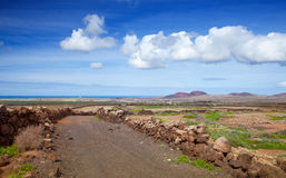 Inland Fuerteventura. View towards Lajares from the Malpais de la Arena, late autumn and little green appearing after rains Stock Images