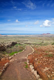 Inland Fuerteventura. View towards Lajares from the Malpais de la Arena, late autumn and little green appearing after rains Stock Photography