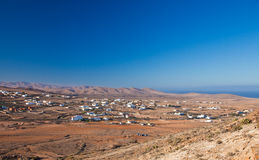 Inland Fuerteventura. Village of Tindaya seen from the mountain bearing the same name royalty free stock photography