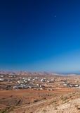 Inland Fuerteventura, Tindaya. Inland Fuerteventura, village of Tindaya seen from the mountain bearing the same name stock images