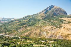Inland mountain landscape of inner Sicily in summer day, Sicily island Stock Image