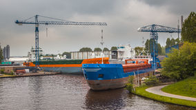 Inland Navigation Ships in a Harbor Royalty Free Stock Images
