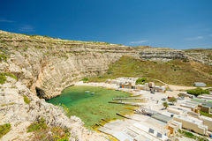 Inland sea, Malta. Inland sea, boats and cave in Malta Stock Image