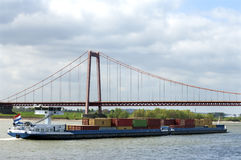Inland Shipping On River Rhine And Rhine Bridge Stock Image
