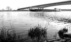 Inland vessel in black and white Stock Images