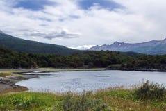 Inlands- fjärd i Tierra del Fuego National Park Arkivfoto