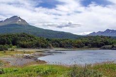 Inlands- fjärd i Tierra del Fuego National Park Arkivbilder
