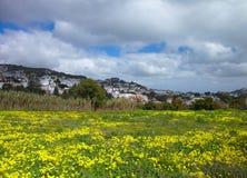 Inlands- Gran Canaria, sikt in mot den historiska staden Teror Royaltyfri Bild