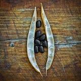 Inlandse droge zwarte bonen met een rustieke raadsachtergrond stock afbeeldingen