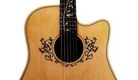 Inlay and soundhole of guitar , Flower Inlay on Fingerboard arou Royalty Free Stock Photo