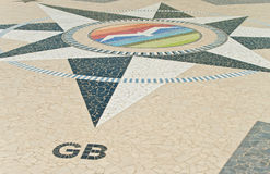 Inlayed compass with Turkish letters on square in Marmaris Stock Photography