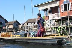 Inle在缅甸的湖视图看法  免版税库存照片