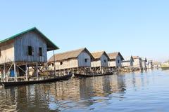 Inle在缅甸的湖视图看法  免版税图库摄影