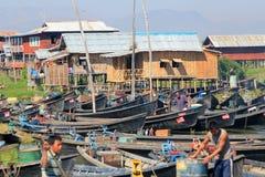 Inle在缅甸的湖视图看法  库存照片