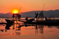 Inle湖日落的渔夫。 图库摄影