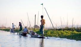 Inle湖的在掸邦,缅甸浮动庭院 库存图片