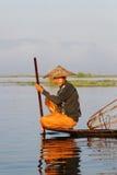 Inle湖的渔夫 免版税库存照片