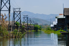 Inle湖的缅甸村庄 免版税库存图片