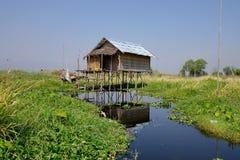 Inle湖的,缅甸一个房子 库存照片