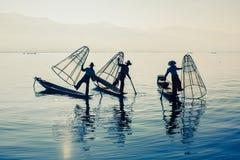 Inle湖的,缅甸缅甸渔夫 免版税图库摄影