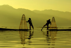 Inle湖,缅甸的渔夫 免版税库存照片